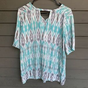 NWT colorful blouse neck cut out sz lg